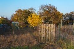 Garden Plot Fence. Fence along garden plot in Europe Stock Images