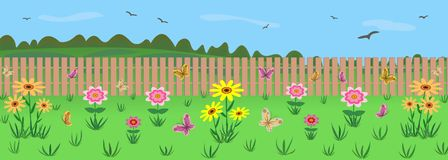 A garden plot with flowers. Against the background of nature. Illustration. The plot of the garden. Garden flowers. Fence. Against the background of nature Stock Photography