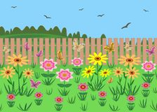 A garden plot with flowers. Against the background of nature. Illustration. The plot of the garden. Garden flowers. Fence. Against the background of nature Stock Photos