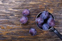 Garden plums in bowl. Organic food. Top view with copy space for your text Royalty Free Stock Photo