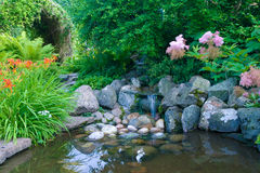 Garden Pond. A pond with a little waterfall, surrounded by dense vegetation stock images