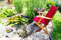 In the garden pond. A cozy space at the garden pond Royalty Free Stock Photography