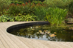 Garden pond with decking Royalty Free Stock Photo