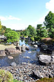 Garden with pond in japanese style in Nijo castle Royalty Free Stock Image