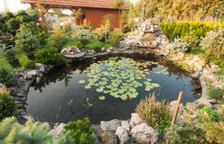 Garden pond landscaping Stock Photography