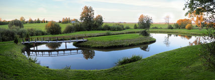 Garden pond. Panoramic landscape with a pond stock photo