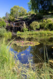 Garden pond and waterfalls Royalty Free Stock Image