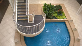 Garden ,pool and stairway Stock Image