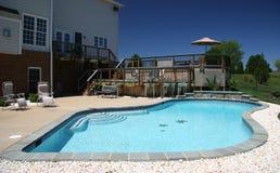 Garden Pool in Suburbs. Backyard pool in rear of modern house in suburbs stock photo