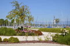 Garden and port at Sciez in France Stock Photography