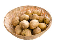 Garden Potatoes. A wicker basket of fresh garden potatoes, isolated against a white background Stock Photography