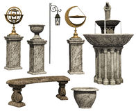 Garden pots, benches and other objects Royalty Free Stock Photo