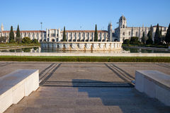 Garden Praca do Imperio and Jeronimos Monastery in Lisbon Royalty Free Stock Photography