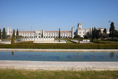 Garden Praca do Imperio and Jeronimos Monastery in Lisbon Royalty Free Stock Image