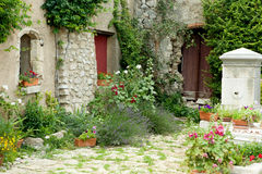 Garden in Provence. View on a typical rustic Provence garden in France Stock Photos