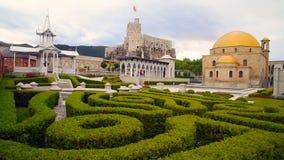 In the garden of Rabati Castle in Akhaltsikhe, Georgia stock footage
