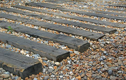 Garden railway sleepers Royalty Free Stock Images