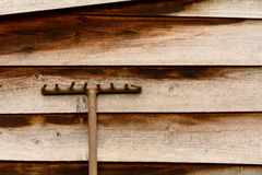 Garden rake against wooden shed Royalty Free Stock Image