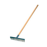 Garden rake isolated on white Royalty Free Stock Photo