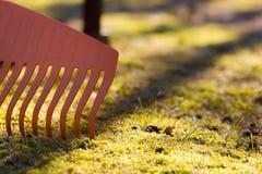 Garden rake. Orange garden plastic rake detail on green grass background Royalty Free Stock Photo