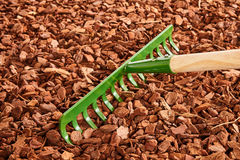Garden rake over wood chip mulch. Single green painted garden rake with thick tines over red colored wood chip mulch on ground Royalty Free Stock Photography