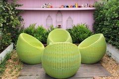 Garden Rattan  furniture Stock Image