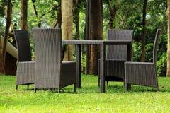 Garden Rattan Furniture Stock Photo