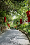 Garden with red lanterns Royalty Free Stock Photography