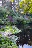 Garden reflection. Picture of a pond in the sunken garden in Butchart gardens, Victoria,British Columbia,Canada Stock Image