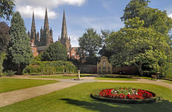 Garden of Remembrance. The garden of remembrance in Lichfield Staffordshire, with the thirteenth century cathedral beyond Stock Photo
