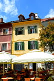 Garden of a Restaurant in the city Sibiu, Transylvania. Sibiu is one of the most important cultural centres of Romania and was designated the European Capital of royalty free stock photography