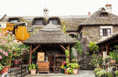 Garden restaurant with thatch in hungarian village, tourist destination. Garden restaurant with thatch in hungarian village, Hungary. Tourist destination royalty free stock image