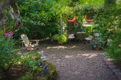 Garden Retreat. A secluded backyard garden room. A perfect place to relax alone or with friends Stock Photo