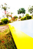 Garden and road in the park. Yellow line road in garden and road in the park Royalty Free Stock Images