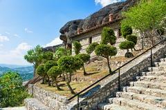 Garden on rock in Meteora monastery. Stock Photo