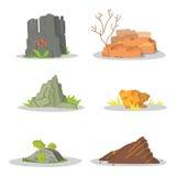Garden Rocks and stones single or piled for damage. illustration game art architecture design. boulder vector set Stock Images