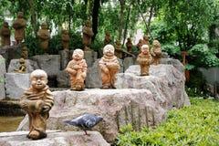 Garden in the Rokkaku-do temple. Sculpture in the Rokkaku-do, buddhist temple, Kyoto, Japan Stock Photos