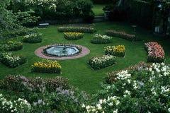 Garden round. A round garden with bluming flowers in the summer months Stock Photography