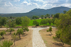 The garden in Royal Monastery of San Lorenzo. De El Escorial Stock Photos