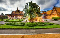 Garden of royal palace - cambodia (hdr). View to Garden and Royal Palace in Phnom Penh - Cambodia (HDR Stock Photo