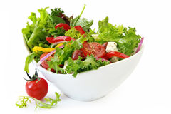 Garden Salad. Healthy garden salad in stylish white bowl, isolated on white Royalty Free Stock Photos
