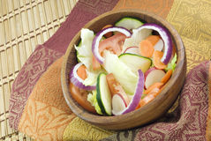 Garden Salad in Wooden Bowl Royalty Free Stock Photography