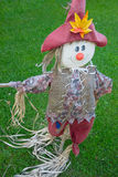 The garden scarecrow. A weather vane in the form of a Scarecrow on a background of green grass Royalty Free Stock Photos