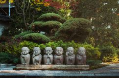 Beautiful Japanese landscaped pation in Kyoto Japan in the fall. Royalty Free Stock Photos