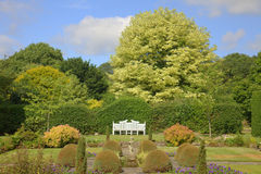 Garden scene with white bench. Summer garden with topiary shrubs and white bench Stock Photography