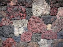 Garden: scoria lava rock wall Royalty Free Stock Photography