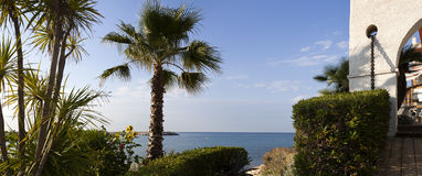 Garden and sea panoramic view in Roc de Sant Gaieta, Tarragona. Stock Photos