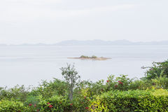 Garden with sea view and mountain view. In Thailand Royalty Free Stock Images