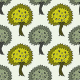 Garden seamless pattern with doodle olive tree on green background. Vector olive trees texture Stock Photography