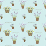 Garden seamless pattern with hand drawn potted flowers Royalty Free Stock Photos